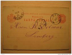 ROMANIA Bacau 1891 To Lemberg Austria 10 Bani Postal Stationery Carta Postala - Postal Stationery