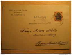 ROMANIA GERMANY OCCUPATION Bucharest 1918 To Borna Leipzig Gepruft Cancel Militar Militaire Overprinted Stamp WW1 Cover - Cartas De La Primera Guerra Mundial