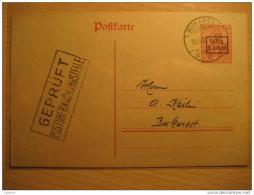 ROMANIA GERMANY OCCUPATION Bucharest 1918 Gultig 9 Armee Overprinted Stationery Cancel Gepruft Militar Militaire WW1 - Cartas De La Primera Guerra Mundial