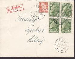 Denmark Registered Einschreiben Label ROSKILDE 1953 Cover Brief HELLERUP 4-Block Jelling Stone Stamps - Denemarken