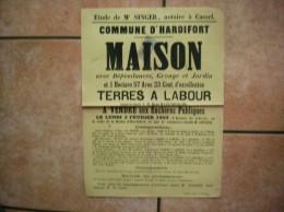 2 FEVRIER 1903 HARDIFORT VENTE MAISON ET TERRES A LABOUR APPARTENANT A M.REMI HAZENBERGHE 43cm/31cm - Affiches