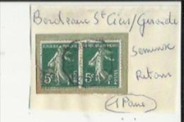 1 Paire De  Timbres _Tampon Convoyeur - _Bordeaux--a--Saint-Ciers-la-Lande_Semeuse 5 Cts _(2)_Retour - Poststempel (Einzelmarken)