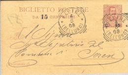 1908 Biglietto Postale C. 15 Su 20 Da Feltre Per Seren Del Grappa - 1900-44 Vittorio Emanuele III