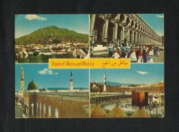 Saudi Arabia Picture Postcard Holy Mosque Ka´aba Mecca & Medina 4 Scene Islamic View Card - Saudi Arabia