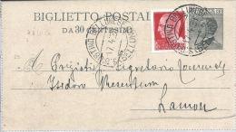 1931 Biglietto Postale C. 30 Da S. Giustina Bellunese Per Lamon - 1900-44 Vittorio Emanuele III