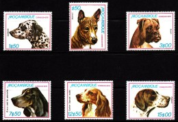 Mozambique MNH Scott #662-#667 Set Of 6 Dogs: Basenji, Dalmation, Boxer, Blue Gasconha Braco, Cocker Spaniel, Pointer - Mozambique