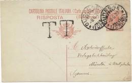 """LANV3/3 - ITALIE EP CP LEONI 10c MIL. 18 PARTIE REPONSE CUDRENE / MÜNSTER 8/6/1920 FRAPPÉE """" T T """" - Entiers Postaux"""