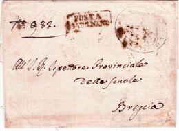 1828-Lombardo-Veneto - Lettre De POSTA/ GARGNANO ( Voll. N°2 ) En Franchise Pour Brescia - 1. ...-1850 Prefilatelia
