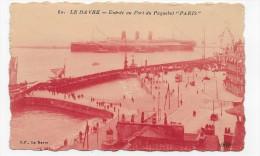 (RECTO / VERSO) LE HAVRE - N° 60 - ENTREE AU PORT DU PAQUEBOT PARIS - PLI VERTICAL - CPA - 76 - Paquebots