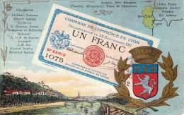 BILLET DE BANQUE NUMIMASTIQUE MONNAIE ARGENT  UN FRANC DE LA CHAMBRE DE COMMERCE DE LYON - Banks