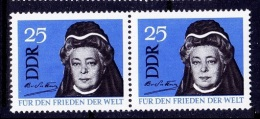 Bertha Von Suttner, 1st Women Nobel Peace, Signature, DDR MNH Pair - Premio Nobel