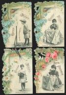 4 Chromos En Relief Chocolat Poulain - Fleurs, Oiseaux Et Portraits D'enfants - Poulain