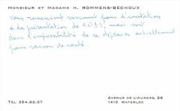 Ancienne Carte De Visite De M. Et Mme Hubert Rommens Bechoux, Avenue De L'Auroren Waterloo (vers 1979) - Cartes De Visite