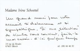 Ancienne Carte De Visite De Mme Irène Schoettel, Rue Du Moulin 67400 Illkirch (vers 1985) - Cartes De Visite