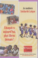 Marque-page °° Solidarité Laïque - Eduquées Aujourd´hui Plus Libres Demain  5x15 - Marque-Pages