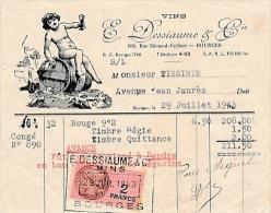 Petite Facture Illustrée De BOURGES  Vins DESSIAUME Rue édouard Vaillant  ( Recto Verso ) - 1900 – 1949