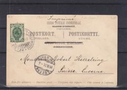 Finlande - Carte Postale De 1901 - Oblitération Helsinki - 3 Langues - Expédié Vers La Suisse - Luzern - Timbre Russe ? - Cartas