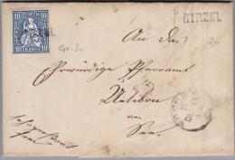 Heimat ZH ZH HIRZEL Bahnwagenvermerk 1864-12-15 Horgen Auf Brief - Lettres & Documents