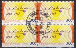France 1998 - Y & T - Oblitéré - N° 3210 Centenaire De La Découverte Du Radium Par Pierre Et Marie Curie X 4 - Gebraucht