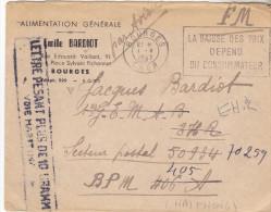 18 Bourges- Lettre De 1947 Pour  BPM 406. ( HAIPHONG).mention Par Avion  Refusée Car Pesant Plus De 10 Grammes.Tb état - Marcophilie (Lettres)