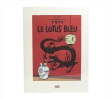 "Mini-poster Tintin ""Le Lotus Bleu"" (reproduction De La Couverture De L'album) 1995 (30 X 40 Cm) BD - Serigrafía & Litografía"