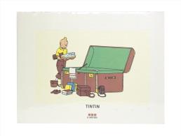 """Mini-poster Tintin """"Le Lotus Bleu"""" (Tintin Préparant Sa Malle) 1995 (30 X 40 Cm) BD - Serigrafía & Litografía"""
