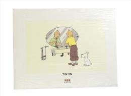 """Mini-poster Tintin """"Le Lotus Bleu"""" (Tintin Devant Son Miroir) 1995 (30 X 40 Cm) BD - Serigrafía & Litografía"""