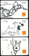 "3 Carte Téléphone ""Pre-pay"" ""Tintin Et Milou"" (2x 500 BEF ; 1x 1000 BEF) (2000) BD - Cómics"