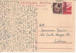 DEMOCRATICA C132 LIT 10 ROSSO + LIT 2 - 1946-60: Marcofilia