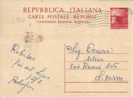 DEMOCRATICA C137 LIT 20 ROSSO ISOLATO - 1946-60: Marcofilia