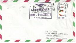 VOLO INAUGURALE ROMA FRANCOFORTE  2.4.1960 PER FRANCOFORTE CON EUROPA LIT 60 - 1946-60: Marcofilia