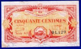 BON - BILLET - MONNAIE - 1920 CHAMBRE DE COMMERCE DE BORDEAUX 33 GIRONDE 50 CENT SERIE 43 N° 01129 REMBOURSABLE DEC.1925 - Handelskammer