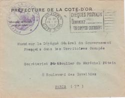 1942 Lettre En Franchise > DÉLÉGUÉ GOUVERNEMENT FRANÇAIS TERRITOIRES OCCUPÉS - DIJON PREFECTURE COTE D'OR - Marcofilia (sobres)