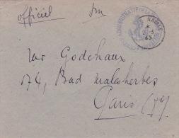 """1945 Cachet """" CENTRE ADMINISTRATIF DE LA MARINE MILITAIRE """" + """" POSTE NAVALE """" / Enveloppe """" Officiel """" En Franchise FM - 1939-45"""