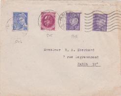 PETAIN 60c X 2 + 20c Obl 31/10/44 DERNIER JOUR AVANT DÉMONÉTISATION Sur Lettre - N° 505 + 509 X 2 Mercure - Marcophilie (Lettres)
