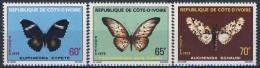 MDV-BK7-122 MINT POSTFRIS ¤ COTE D 'IVOIRE 1978 3w In Serie ¤ BUTTERFLIES - FARFALLE - MARIPOSAS - PAPILLONS - VLINDERS - Papillons