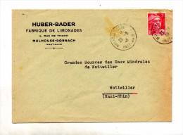 Lettre Cachet Mulhouse Sur Gandon Entete Fabrique Limonade Huber - Storia Postale