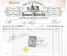 FACTURE LOUEURS DE CHEVAUX ET VOITURES 1879 ARMAND VOISINE 28 CHARTRES - France