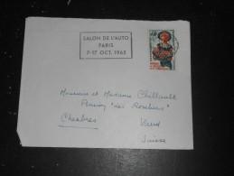 PARIS VII RUE CLER - FLAMME SALON AUTO 1965 SUR YT 1449 ACCUEIL AMABILITE - Mechanical Postmarks (Advertisement)