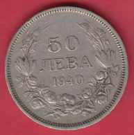 F5626 / - 50 Leva -  1940 - Tsar Boris III Of  Bulgaria Bulgarie Bulgarien Bulgarije - Coins Monnaies Munzen - Bulgaria
