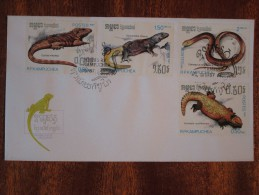 1987 Kampuchea / Cambodia - Snakes & Lizards - FDC - Kampuchea