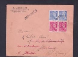 Paire Mercure 406 5c Rose 407 10c Bleu Départ Estissac Redirigé Strasbourg Selestat - Marcophilie (Lettres)