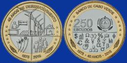 CAPE VERDE NEW 250 ESCUDOS 2015 40 YEARS INDEPENDENCE UNC AFRICA BIMETAL - Cap Vert