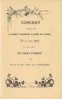 Programme Concert Sainte Cécile à Lummen Pour Senateur Van Willigen 1908 - Programme