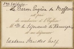 Carton Baron De Moffarts De Sejournet De Rameignies Stanislas Nolf Mariage Plan Au Dos - Wedding