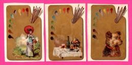 6 Chromos Dorés - Palettes De Peintures - Pinceaux - Chien - Femmes  - Vin - Homme - Maison Avec Église - HUTINET - Kaufmanns- Und Zigarettenbilder