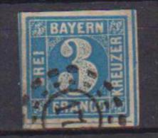 GERMANIA ANTICHI STATI  1849-50  BAVIERA  CIFRA IN UN CERCHIO UNIF. 2  USATO  VF - Bavière