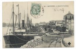 CPA - BAYONNE, LE QUAI DE LESSEPS - Pyrénées Atlantiques 64 - Circulé 1907 - Bateaux, Train - Bayonne