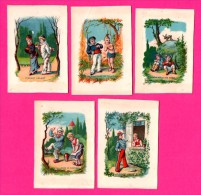 5 Chromos - Pierrot Galant - Le Galant Hussard - Amour Sous Les Tropiques - Leçon De Bourrée - Le Plus Malin Des Trois - Kaufmanns- Und Zigarettenbilder