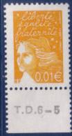 Marianne De Luquet 0,01 € Jaune (n°3443) Numéro De Presse TD6-5 - 1997-04 Marianne Du 14 Juillet